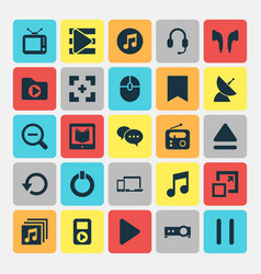 Media icons set collection of begin magnifying vector