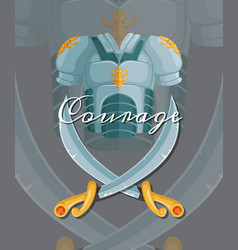 medieval crossed sabers and breastplate vector image