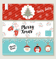 Merry christmas cute retro banner collection vector