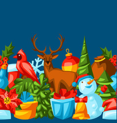merry christmas seamless pattern holiday vector image