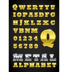 Metal Letter and Numbers vector