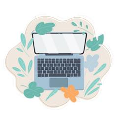 Modern metallic laptop top vector