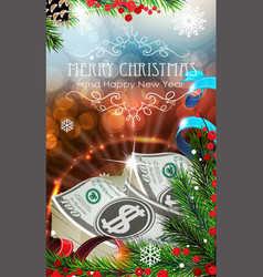 Money with sparkles and fir branches vector