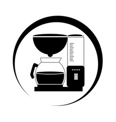 Monochrome circular frame with coffee maker and vector