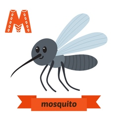 Mosquito M letter Cute children animal alphabet in vector
