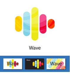 Multicolored wave columns logo concept vector
