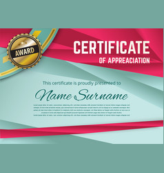 official turquoise certificate with red triangles vector image