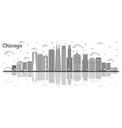 outline chicago illinois city skyline with modern vector image