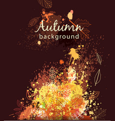 paint splashes and autumnal leaves vector image