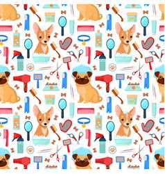 Pattern with grooming tools and dogs vector