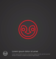 penguin outline symbol red on dark background logo vector image
