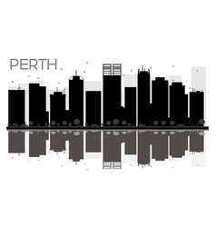perth city skyline black and white silhouette vector image