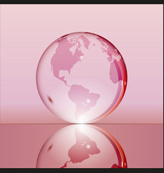 Pink shining transparent earth globe vector