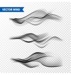 realistic wind set on transparent background vector image