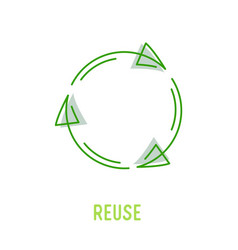 Reuse sign with green rotate arrows in linear vector