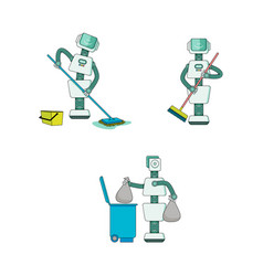 robot doing housework collection - android cleans vector image