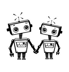 Robots in love vector image
