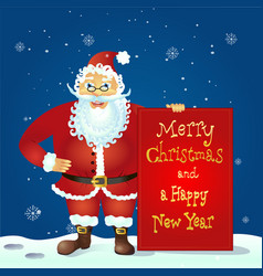 Santa claus standing with christmas greetings bann vector