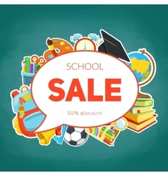 School supplies and sale text block vector