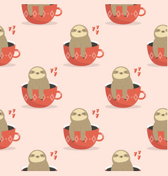 seamless pattern with cute sloths sitting in cups vector image