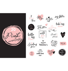 set black white and pink love lettering vector image