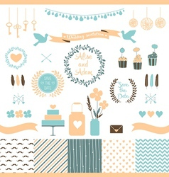 Set of Elements for Wedding Design vector image