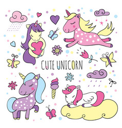 set of magical items with cute unicorns vector image