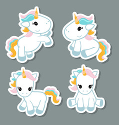 set of unicorn stickers set of unicorn stickers vector image