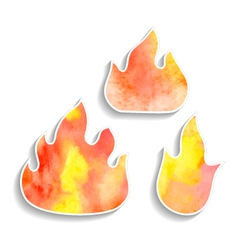 Set of watercolor fire icons vector