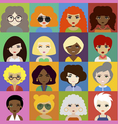 Set of woman avatar icons in flat style vector