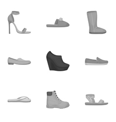 Shoes set icons in monochrome style big vector