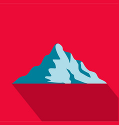 Snow mountain icon flat style vector
