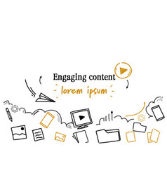 Social media sharing engaging content concept vector