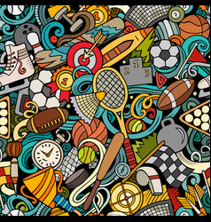 sports hand drawn doodles seamless pattern vector image