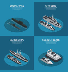 square military boats isometric icon set vector image