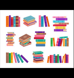 stack book on white background vector image