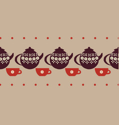 Teacups and teapots seamless border print vector