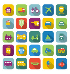 Transportation color icons with long shadow vector