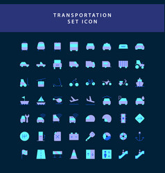 transportation flat style design icon set vector image