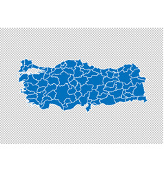 Turkey map - high detailed blue map with vector