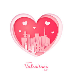Valentines card paper cut heart and milan vector