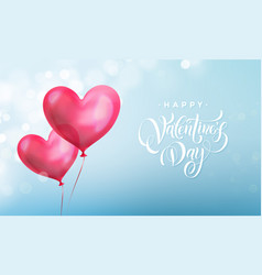 valentines day lettering text on valentine red vector image