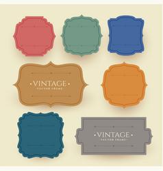 vintage frame labels set in retro colors vector image