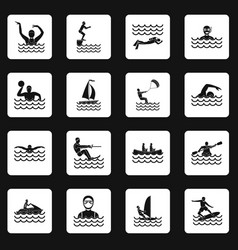Water sport icons set squares vector