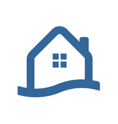 Waterfront house simple icon vector