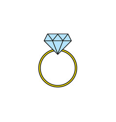 Wedding diamond ring solid icon engagement ring vector