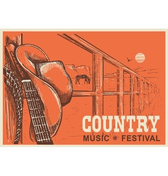 Western country music poster with cowboy hat and vector