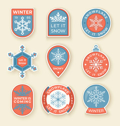 winter labels and badges elements set of vector image