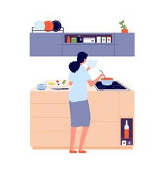 woman cooking girl in kitchen near stove lunch vector image