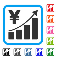yen growth graph framed icon vector image